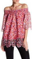 T Tahari Cecila Floral Lace Off-the-Shoulder Top