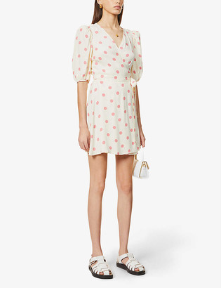 Reformation Olince polka-dot puff-sleeve woven mini dress