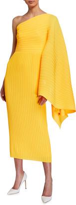 SOLACE London Lila Pleated Asymmetric Midi Dress