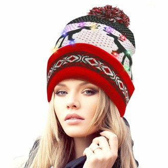 Rotus Novelties LED Light Up Santa Beanie Knit Cap with 10 Colorful Flashing LED Thick Double Layer Christmas Beanie Hat with Reindeer Printing Party