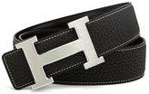 "A. T A&T TA Mens H-Frame Buckle Leather Belt Black Silver Buckle 130CM(40""-42"" Waist Size)"