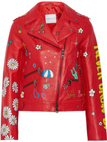 Mira Mikati Never Grow Up Painted Leather Biker Jacket - Red