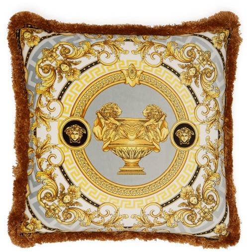 Versace La Coupe Des Dieux Silk Cushion - White Gold