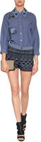 Anna Sui Embellished Cotton Blouse in Indigo Multi