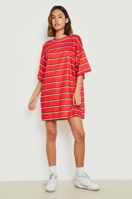 boohoo Oversized Stripe T-Shirt Dress