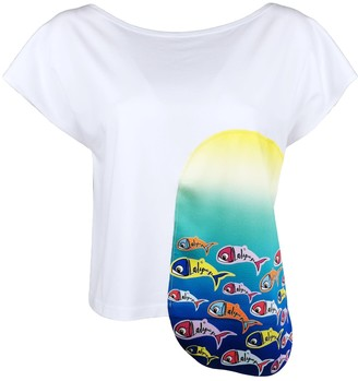 Lalipop Design White Boat Neck Blouse With Digital Fish Prints - Fishes