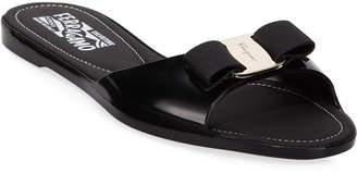 Salvatore Ferragamo Cirella Flat PVC Jelly Bow Slide Sandals, Black
