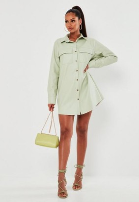 Missguided Mint Faux Leather Shirt Dress