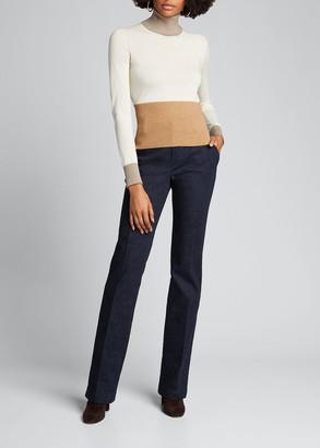 Loro Piana Piuma Turtleneck Colorblock Cashmere Sweater