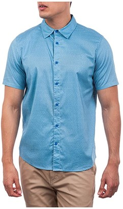 Hurley Tempo Stretch Short Sleeve Woven Shirt (Pacific Blue/Light Aqua) Men's Clothing