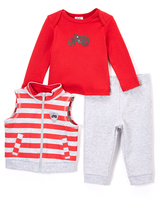 Baby Essentials Red & Gray Motorcycle Tee Set - Infant