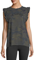 The Upside Camo Frill Cotton Muscle Tank Top