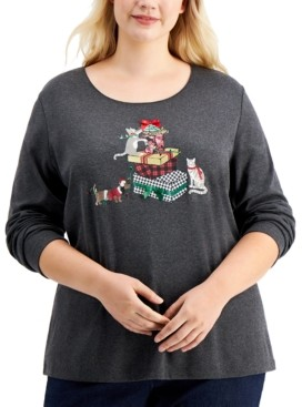 Karen Scott Plus Size Holiday Cat Top, Created for Macy's