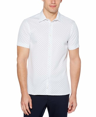 Perry Ellis Men's Big & Tall Slim Fit Micro Motif Print Short Sleeve Button-Down Shirt