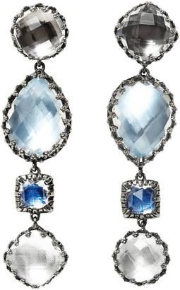 Larkspur & Hawk Sadie Four-Drop Earrings in Multi-Blue Foil