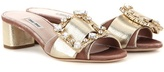 Miu Miu Embellished Velvet And Leather Sandals