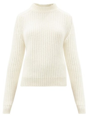 Saint Laurent High-neck Rib-knitted Wool-blend Sweater - Ivory