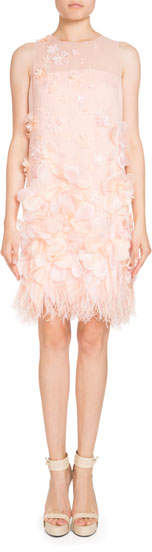 Andrew Gn Sleeveless Organza Feather-Trim Dress