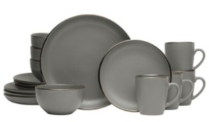 Pfaltzgraff hadlee grey 16 pc dinnerware set, service for 4