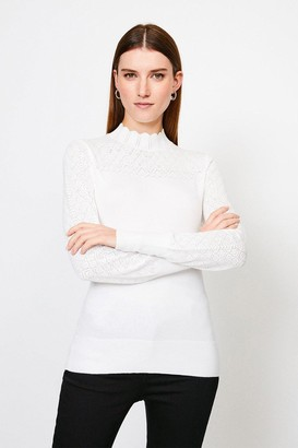 Karen Millen Pointelle Funnel Neck Knitted Jumper