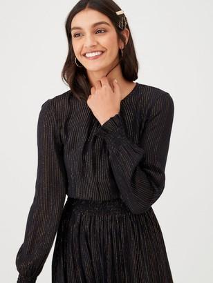 Very Lurex Gold Stripe Ruched Waist Midi Dress - Black Stripe