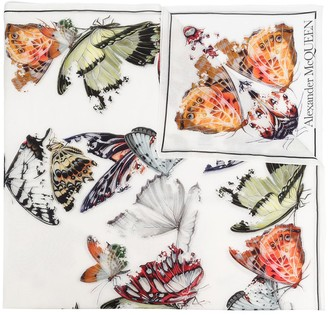 Alexander McQueen Butterfly-Print Cotton-Silk Scarf