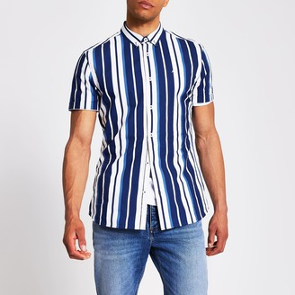 River Island Mens Navy stripe slim fit short sleeve shirt