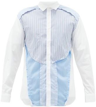 Comme des Garcons Inside-out Cotton-poplin Shirt - Mens - Blue White