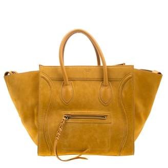 Celine Luggage Yellow Suede Handbags