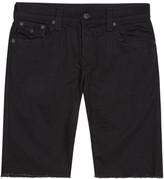 True Religion Ricky Black Frayed Denim Shorts