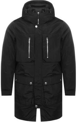Armani Exchange Long Trench Jacket Black