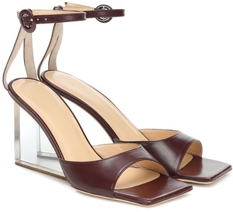 BY FAR Dima leather wedge sandals