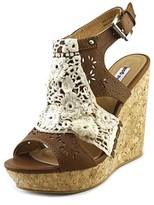 Not Rated Candace Women Open Toe Synthetic Tan Wedge Sandal.