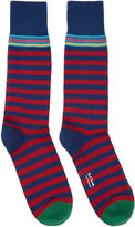 Paul Smith Navy and Red Two Stripe Socks