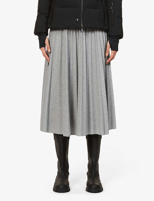 Moncler Gonna pleated high-waist stretch-jersey midi skirt