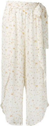 Tara Matthews Seashell Print Ruffled Trousers