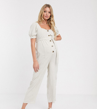 Asos DESIGN Maternity button front tie waist puff sleeve jumpsuit with short sleeves-Stone