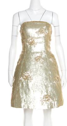 Oscar de la Renta Matte Gold Sequin Embellished Strapless Mini Dress S