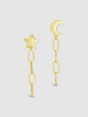Sterling Forever Moon & Star Dangle Chain Link Studs