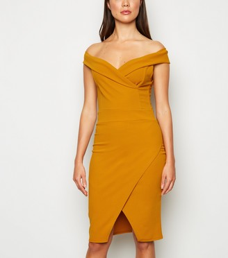 New Look Missfiga Bardot Wrap Bodycon Dress