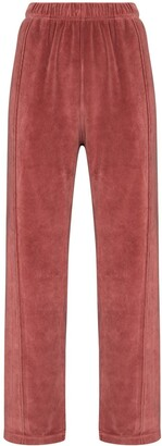 LES TIEN Velour Straight-Leg Track Pants