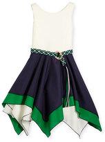 Zoë Ltd Sleeveless Belted Scuba & Poplin Handkerchief Dress, Navy/White, Size 4-6X