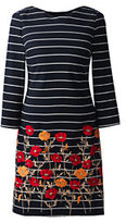 Classic Women's Woven Shift Dress-Black/Ivory Stripe