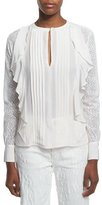 See by Chloe Long-Sleeve Woven Ruffle-Trim Top, Cloud White