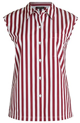 Lafayette 148 New York Yani Chalk Stripe Button-Up Top