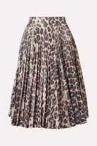 Calvin Klein 205w39nyc CALVIN KLEIN 205W39NYC - Pleated Leopard-print Taffeta Midi Skirt - Beige