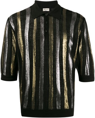 Saint Laurent Metallic Stripe Polo Shirt