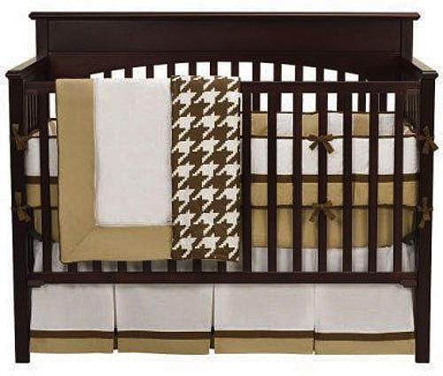 Bacati Metro Khaki, White & Chocolate 4pc Crib Bedding Set