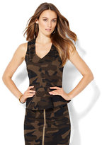 New York & Co. V-Neck Peplum Top - Camouflage Print