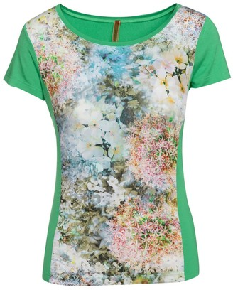 Conquista Green Short Sleeve Floral Print Top